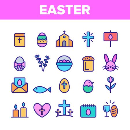Collection Happy Easter Elements Vector Icons Set Thin Line. Egg And Bunny, Church And Tulip Celebrity Easter Details Concept Linear Pictograms. Religion Holiday Monochrome Contour Illustrations