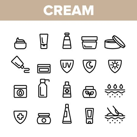 Collection Healthy Cream Elements Vector Icons Set Thin Line. Healthcare Cream In Tube And Container Concept Linear Pictograms. Day And Night Skin Protection Monochrome Contour Illustrations