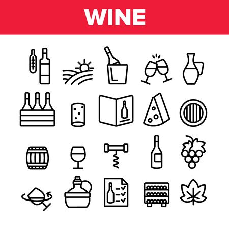 Wine Product Collection Elements Vector Icons Set Thin Line. Wine Bottle And Glasses, Barrel And Card, Cheese And Grape Concept Linear Pictograms. Vineyard Monochrome Contour Illustrations Ilustração