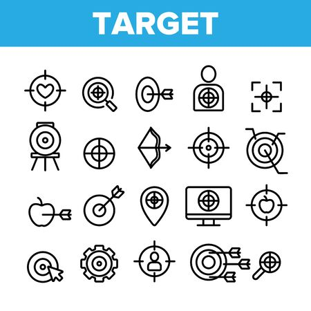 Target Aim Collection Elements Vector Icons Set Thin Line. Different Game Military Shape Target, Dartboard With Arrow And Archery Concept Linear Pictograms. Monochrome Contour Illustrations