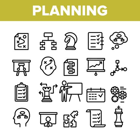 Planning Collection Elements Vector Icons Set Thin Line. Chess Figures And Presentation, Mechanism Gears And Presenting Strategic Planning Concept Linear Pictograms. Monochrome Contour Illustrations