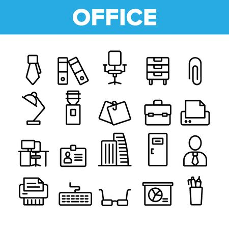 Office Job Collection Elements Vector Icons Set Thin Line. Office Chair And Lamp, File Folder And Paper Clip, Building And Manager Concept Linear Pictograms. Monochrome Contour Illustrations
