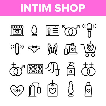 Intim Shop Collection Elements Vector Icons Set Thin Line. Contraception And Different Intim Devices, Bunny Ears And Sexy Panties Concept Linear Pictograms. Monochrome Contour Illustrations