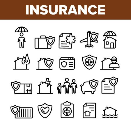 Insurance Collection Elements Vector Icons Set Thin Line. House Insurance From Fire And Lightning, Flood And Burglary Concept Linear Pictograms. Life-assurance Monochrome Contour Illustrations