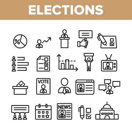 Elections Collection Elements Vector Icons Set Thin Line. Candidate And President, Newspaper And Tablet, Building And Elections Graph Concept Linear Pictograms. Monochrome Contour Illustrations