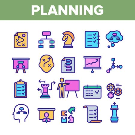 Planning Collection Elements Vector Icons Set Thin Line. Chess Figures And Presentation, Mechanism Gears And Presenting Strategic Planning Concept Linear Pictograms. Color Contour Illustrations