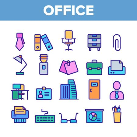 Office Job Collection Elements Vector Icons Set Thin Line. Office Chair And Lamp, File Folder And Paper Clip, Building And Manager Concept Linear Pictograms. Color Contour Illustrations Stock Illustratie