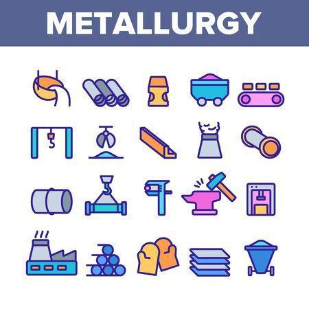 Éléments de collection de métallurgie Vector Icons Set Fine Line. Pictogrammes linéaires du concept de production de métallurgie des tubes en acier et en métal. Illustrations de contour de couleur de l'industrie métallurgique Vecteurs