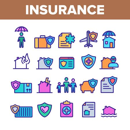 Insurance Collection Elements Vector Icons Set Thin Line. House Insurance From Fire And Lightning, Flood And Burglary Concept Linear Pictograms. Life-assurance Color Contour Illustrations