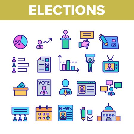 Elections Collection Elements Vector Icons Set Thin Line. Candidate And President, Newspaper And Tablet, Building And Elections Graph Concept Linear Pictograms. Color Contour Illustrations