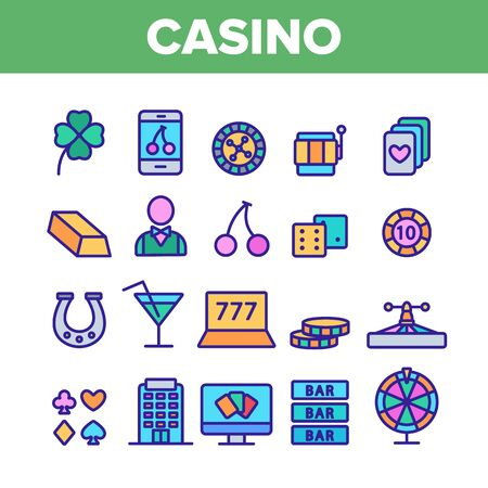 Casino Collection Play Elements Vector Icons Set Thin Line. Casino Chip And Cards, Smartphone and Laptop, Roulette And Dealer Concept Linear Pictograms. Color Contour Illustrations