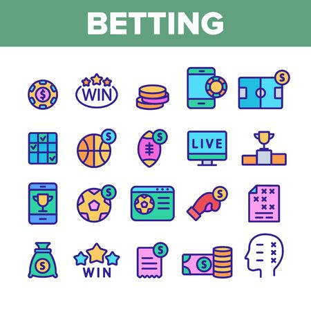 Betting Football Game Collection Vector Icons Set Thin Line. Casino Chip And Coin, Smartphone and Tv Monitor, Basketball And Box Betting Concept Linear Pictograms. Color Contour Illustrations