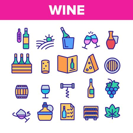 Wine Product Collection Elements Vector Icons Set Thin Line. Wine Bottle And Glasses, Barrel And Card, Cheese And Grape Concept Linear Pictograms. Vineyard Color Contour Illustrations Ilustração