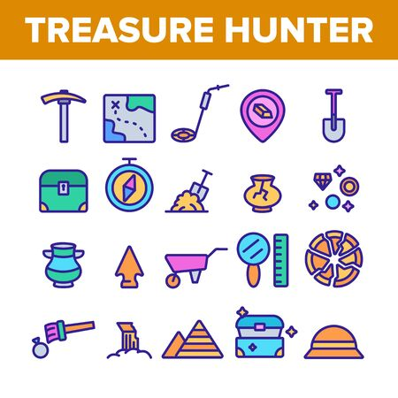 Treasure Hunter Collection Tool Vector Icons Set Thin Line. Map With Direction To Treasure, Compass And Miner Work Equipment Concept Linear Pictograms. Color Contour Illustrations