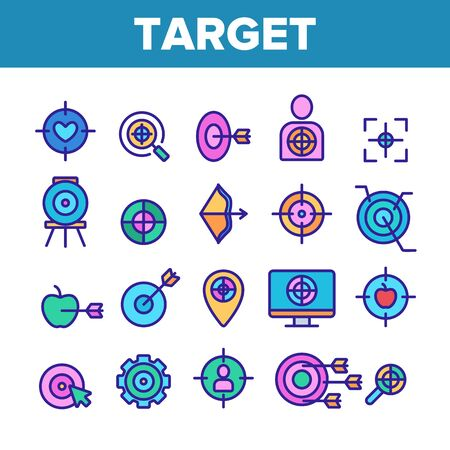 Target Aim Collection Elements Vector Icons Set Thin Line. Different Game Military Shape Target, Dartboard With Arrow And Archery Concept Linear Pictograms. Color Contour Illustrations