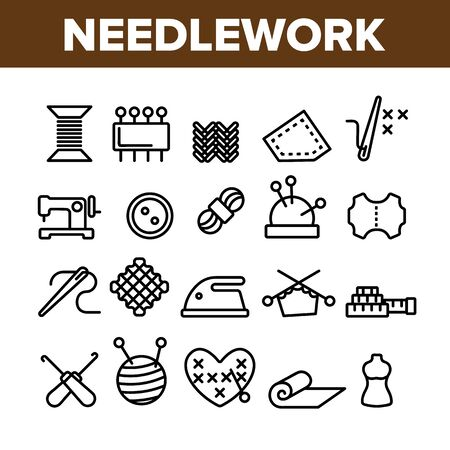 Needlework Collection Elements Icons Set Vector Thin Line. Pin And Button, Needle And Spool, Meter And Dummy Needlework Tools And Details Concept Linear Pictograms. Monochrome Contour Illustrations