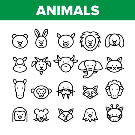 Animals Collection Wild And Farm Icons Set Vector Thin Line. Bear And Rabbit, Pig And Cow, Elephant And Lion, Monkey And Horse Animals Concept Linear Pictograms. Monochrome Contour Illustrations