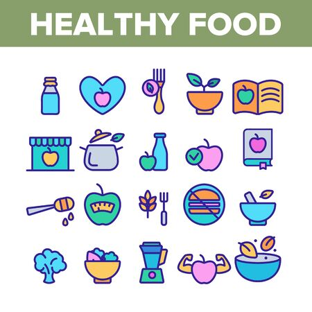 Healthy Food Nutrition Collection Icons Set Vector Thin Line. Honey, Broccoli And Apple Ingredients Health Breakfast Food Concept Linear Pictograms. Color Contour Illustrations Illusztráció