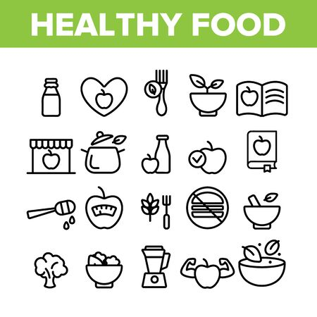 Healthy Food Nutrition Collection Icons Set Vector Thin Line. Honey, Broccoli And Apple Ingredients Health Breakfast Food Concept Linear Pictograms. Monochrome Contour Illustrations