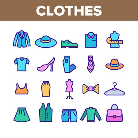 Fashion And Clothes Collection Icons Set Vector Thin Line. Shoes, Hat, Clothing Varieties And Accessories Clothes Assortment Concept Linear Pictograms. Color Contour Illustrations