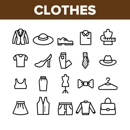 Fashion And Clothes Collection Icons Set Vector Thin Line. Shoes, Hat, Clothing Varieties And Accessories Clothes Assortment Concept Linear Pictograms. Monochrome Contour Illustrations