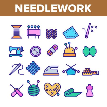 Needlework Collection Elements Icons Set Vector Thin Line. Pin And Button, Needle And Spool, Meter And Dummy Needlework Tools And Details Concept Linear Pictograms. Color Contour Illustrations