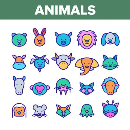Animals Collection Wild And Farm Icons Set Vector Thin Line. Bear And Rabbit, Pig And Cow, Elephant And Lion, Monkey And Horse Animals Concept Linear Pictograms. Color Contour Illustrations
