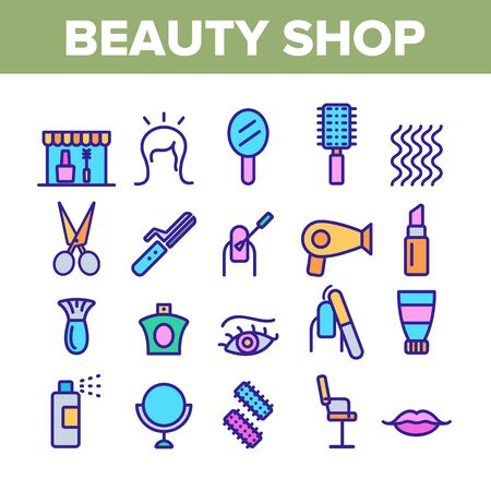 Beauty Shop Collection Elements Icons Set Vector Thin Line. Fan And Mirror, Perfume And Nail Polish, Chair And Scissors Equipment For Beauty Concept Linear Pictograms. Color Contour Illustrations