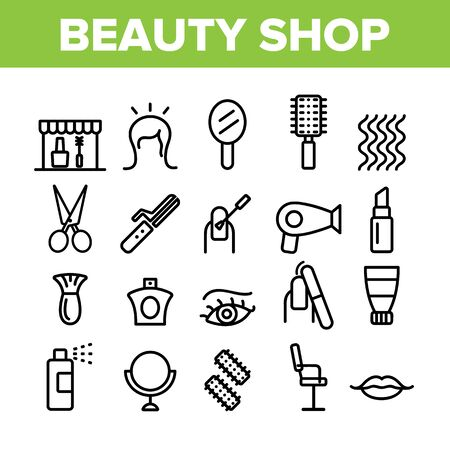 Beauty Shop Collection Elements Icons Set Vector Thin Line. Fan And Mirror, Perfume And Nail Polish, Chair And Scissors Equipment For Beauty Concept Linear Pictograms. Monochrome Contour Illustrations