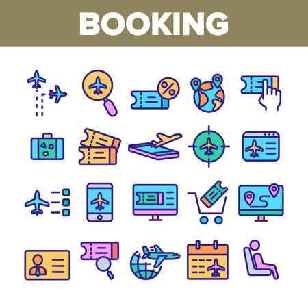 Booking Trip Collection Elements Icons Set Vector Thin Line. Airplane Direction And Ticket, Suitcase And Badge Booking Details Concept Linear Pictograms. Color Contour Illustrations