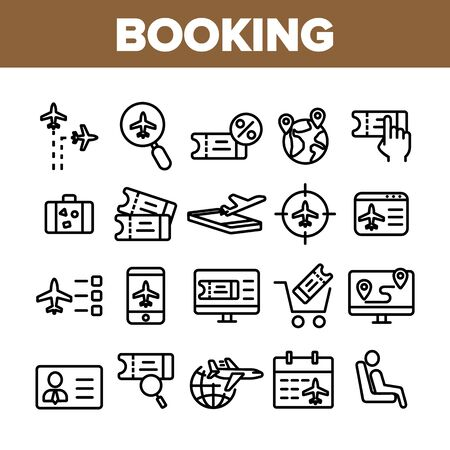 Booking Trip Collection Elements Icons Set Vector Thin Line. Airplane Direction And Ticket, Suitcase And Badge Booking Details Concept Linear Pictograms. Monochrome Contour Illustrations