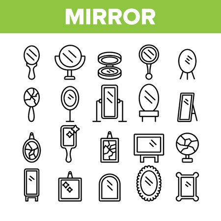 Mirror Different Form Collection Icons Set Vector Thin Line. Broken And New, Ancient And Modern, Hand And Wall Mirror Concept Linear Pictograms. Accessory Monochrome Contour Illustrations Stock Illustratie