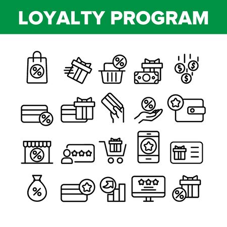 Loyalty Program Bonus Collection Icons Set Vector Thin Line. Bag And Market With Percentage Mark, Present Gift And Wallet Loyalty Program Concept Linear Pictograms. Monochrome Contour Illustrations