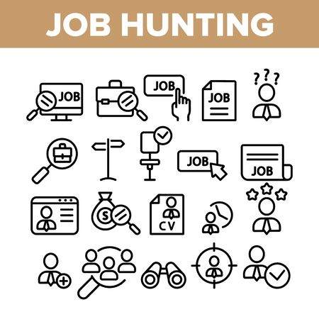 Job Hunting Collection Elements Icons Set Vector Thin Line. Magnifier With Suitcase And Computer, Web Site And Businessman Job Hunting Concept Linear Pictograms. Monochrome Contour Illustrations Ilustracja