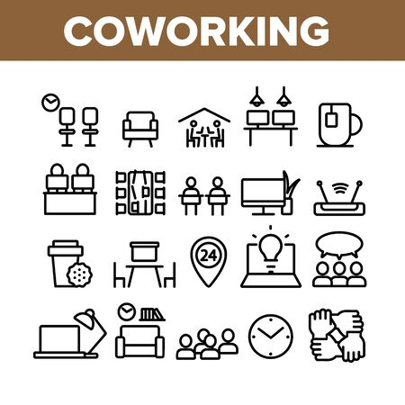Coworking Collection Elements Icons Set Vector Thin Line. Working Table Place With Computer, Laptop And Lamp, Tea Cup And Clock Coworking Concept Linear Pictograms. Monochrome Contour Illustrations