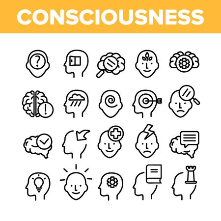 Consciousness Collection Elements Icons Set Vector Thin Line. Human Silhouette With Light Bulb And Leaves And Question Mark Consciousness Concept Linear Pictograms. Monochrome Contour Illustrations