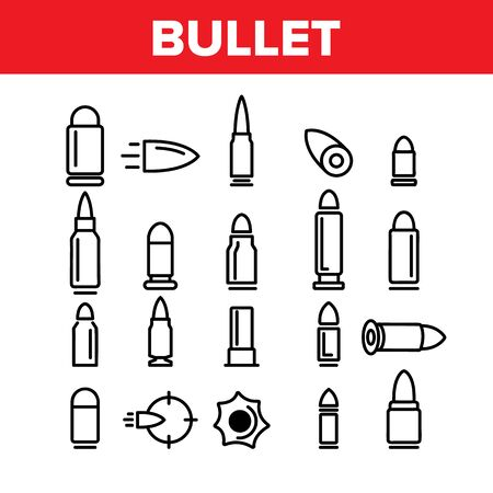 Bullet Ammunition Collection Icons Set Vector Thin Line. Different Caliber, Flying And Standing Military Bullet Concept Linear Pictograms. Army Ammo Monochrome Contour Illustrations