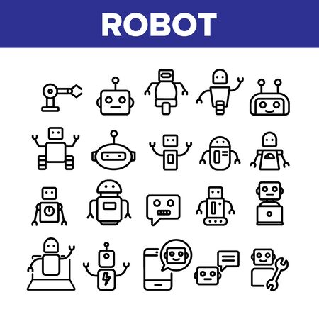 Robot High Technology Collection Icons Set Vector Thin Line. Modern Electronic Robot, Smartphone Chatbot And Computer Support Concept Linear Pictograms. Monochrome Contour Illustrations
