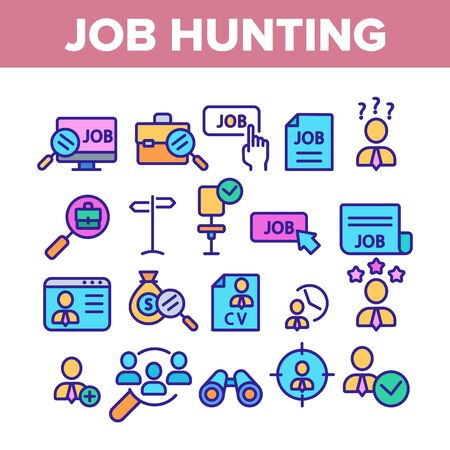 Job Hunting Collection Elements Icons Set Vector Thin Line. Magnifier With Suitcase And Computer, Web Site And Businessman Job Hunting Concept Linear Pictograms. Color Contour Illustrations Ilustracja