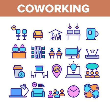 Coworking Collection Elements Icons Set Vector Thin Line. Working Table Place With Computer, Laptop And Lamp, Tea Cup And Clock Coworking Concept Linear Pictograms. Color Contour Illustrations Stock Illustratie