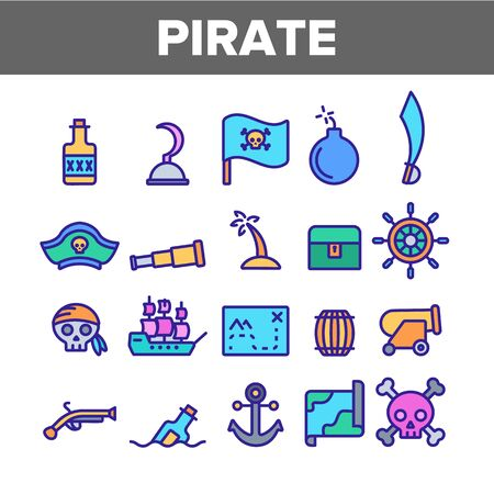 Pirate Things Collection Elements Icons Set Vector Thin Line. Pirate Triangle Hat And Sabre, Skull With Bandanna And Bones Concept Linear Pictograms. Monochrome Contour Illustrations Banco de Imagens - 131570051