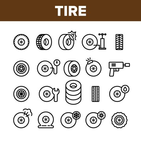 Tire Wheel Collection Elements Icons Set Vector Thin Line. Low Pressure, Equipment For Repair Tire And Break Concept Linear Pictograms. Car Service And Store Monochrome Contour Illustrations