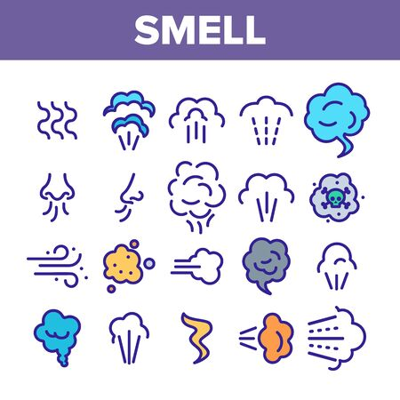 Smell Cloud Collection Elements Icons Set Vector Thin Line. Smell Of Cooking Food Vapour Smoke, Gas Steam And Human Smelling Concept Linear Pictograms. Monochrome Contour Illustrations Ilustração