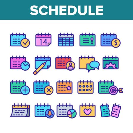 Schedule Collection Elements Icons Set Vector Thin Line. Calendar With Clock And Human, Heart And Bell, Dollar And Gear Mark Schedule Concept Linear Pictograms. Monochrome Contour Illustrations
