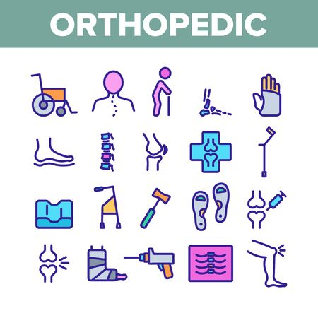 Orthopedic Collection Elements Vector Icons Set Thin Line. Orthopedic And Trauma Rehabilitation, Cervical Collar And Walkers Concept Linear Pictograms. Medical Rehab Color Contour Illustrations