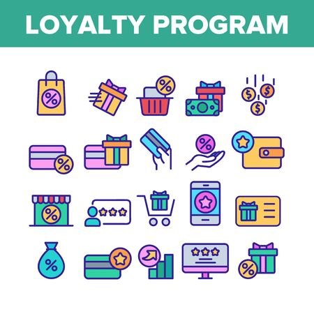 Loyalty Program Bonus Collection Icons Set Vector Thin Line. Bag And Market With Percentage Mark, Present Gift And Wallet Loyalty Program Concept Linear Pictograms. Color Contour Illustrations