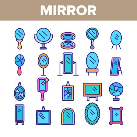 Mirror Different Form Collection Icons Set Vector Thin Line. Broken And New, Ancient And Modern, Hand And Wall Mirror Concept Linear Pictograms. Accessory Color Contour Illustrations
