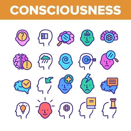 Consciousness Collection Elements Icons Set Vector Thin Line. Human Silhouette With Light Bulb And Leaves And Question Mark Consciousness Concept Linear Pictograms. Color Contour Illustrations