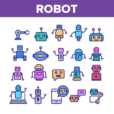 Robot High Technology Collection Icons Set Vector Thin Line. Modern Electronic Robot, Smartphone Chatbot And Computer Support Concept Linear Pictograms. Color Contour Illustrations