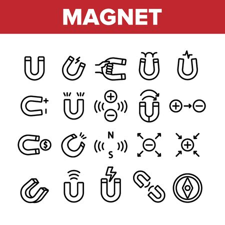 Magnet Power Collection Elements Icons Set Vector Thin Line. Negative And Positive, Magnetic Power, Steel Magnet And Compass Concept Linear Pictograms. Monochrome Contour Illustrations
